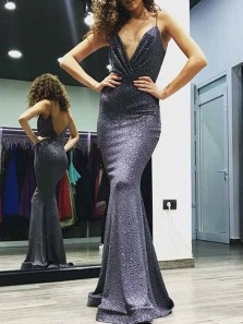 Gorgeous Mermaid V Neck Open Back Spaghetti Straps Grey Sequins Long Prom Dresses,Formal Party Dresses