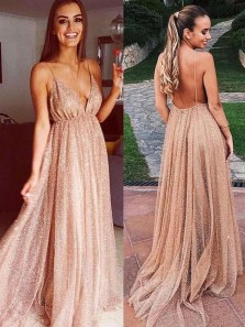 Sparkly A-Line V Neck Backless Gold Sequins Long Prom Dresses,Evening Party Dresses DG1212007