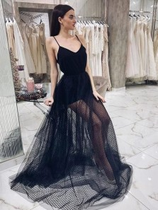 Chic A-Line V Neck Spaghetti Straps Open Back Black Tulle Long Prom Dresses,Evening Party Dresses