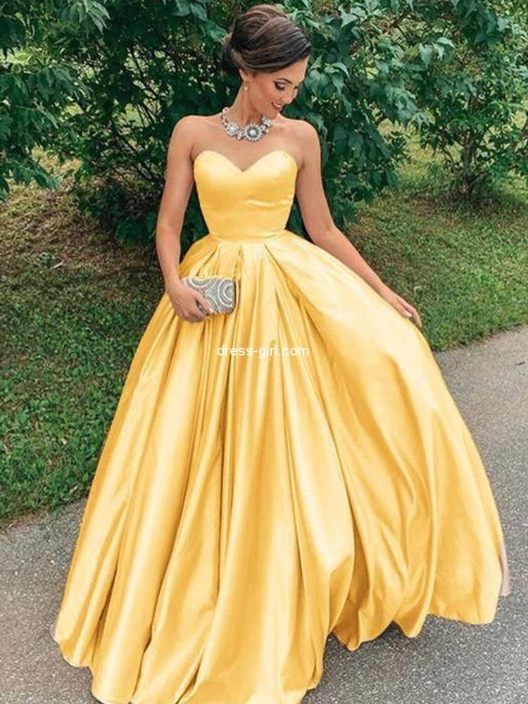 Yellow Satin Long Prom Dresses