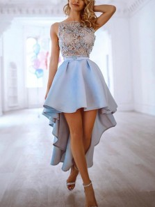 Cute A-Line Boat Neck Blue Satin High Low Prom Dresses with Appliques,Short Prom Dreses,Homecoming Dresses