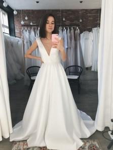 Elegant A-Line Deep V Neck Open Back White Satin Wedding Dresses with Pockets,Simple Wedding Dresses