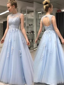 A-Line Jewel Neck Open Back Sky Blue Tulle Long Prom Dresses with Appliques