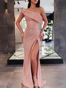 Sparkly Mermaid One Shoulder Blush Sequin Long Prom Dresses with Side Split,Evening Party Dresses