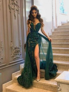 Marvelous Mermaid Sweetheart Dark Green Lace High Slit Prom Evening Dresses