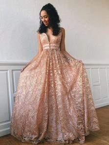 Stylish A-Line V Neck Open Back Blush Lace Prom Evening Dresses