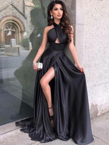 Charming A-Line Halter Open Back Black Satin Long Prom Dresses with High Split,Formal Evening Party Dresses