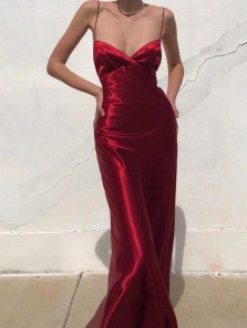 Sexy A-Line Low Cut Spaghetti Straps Dark Red Silk Satin Long Evening Party Dresses,Cross Back Formal Dresses