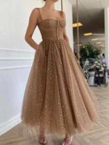 Chic A-Line Sweetheart Brown Stars Tulle Long Prom Evening Dresses with Pockets,Ankle Length Wedding Guest Party Dresses
