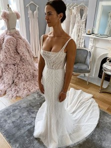 Luxurious Mermaid Square Neck White Beading Wedding Dresses