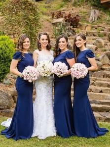 Elegant Mermaid Round Neck Cap Sleeve Navy Blue Elastic Satin Long Bridesmaid Dresses