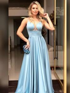 2019 New Sexy A-Line Spaghetti Straps Open Back Blue Satin Long Prom Dresses,Elegant Formal Dresses