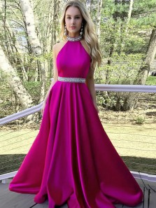 Charming A-Line Halter Open Back Rose Red Satin Long Prom Dresses with Beading,Elegant Evening Dresses