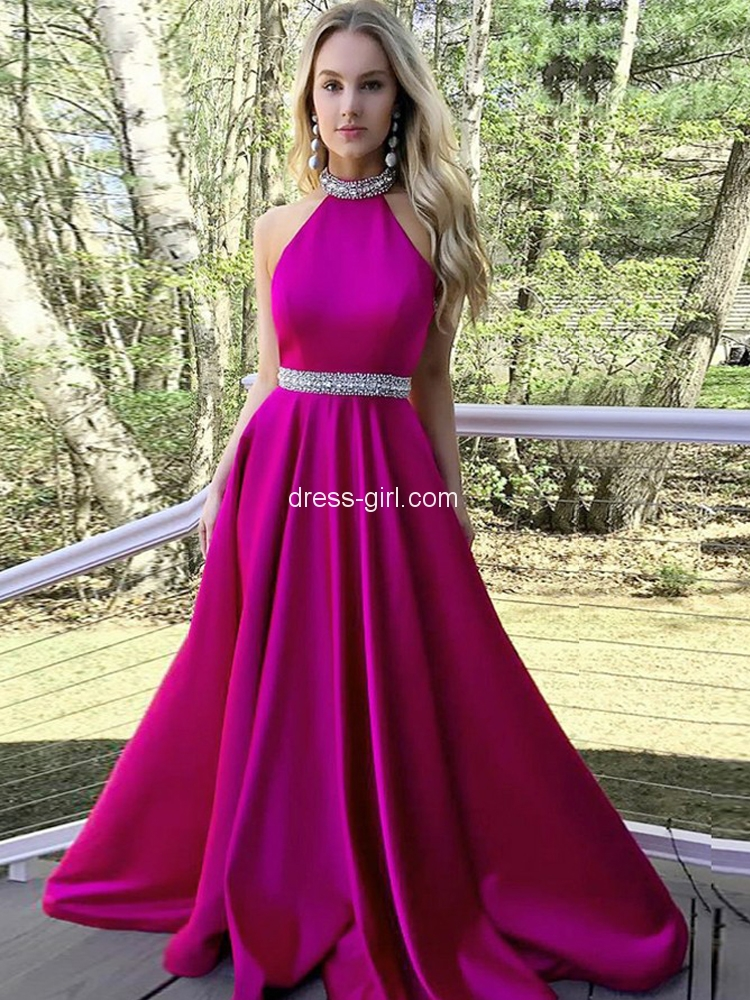 f9c156455 Charming A-Line Halter Open Back Rose Red Satin Long Prom Dresses with  Beading