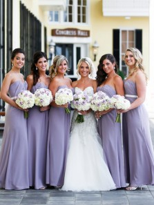 Elegant Sheath Sweetheart Open Back Lavender Chiffon Long Bridesmaid Dresses