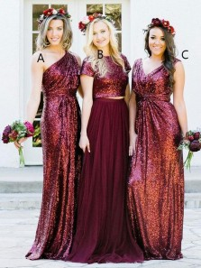 Charming A-Line Two Piece Short Sleeve Burgundy Sequins Long Bridesmaid Dresses