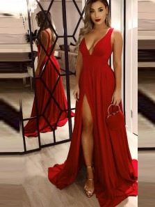 Sexy A-Line Low Cut Open Back Red Satin Long Prom Dresses with Side Split,Simple Evening Dresses