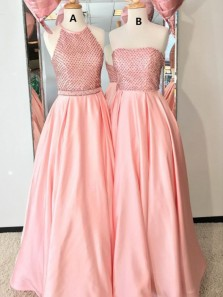 Cute A-Line Halter Open Back Coral Satin Long Prom Dresses with Beading,Quinceanera Dresses
