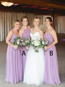 Elegant A-Line Halter Backless Lavender Chiffon Long Bridesmaid Dresses,Wedding Party Dresses DG8039