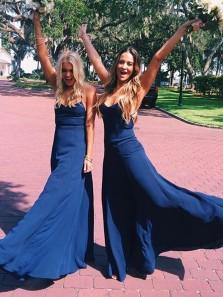 Sexy Sheath V Neck Spaghetti Straps Open Back Royal Blue Elastic Satin Long Prom Dresses,Evening Party Dresses