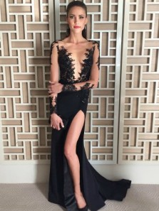 Chic Sheath Scoop Neck Long Sleeve Black Satin Long Prom Dresses with Appliques,Evening Party Dresses
