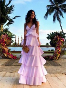 Chic A-Line V Neck Open Back Pink Satin Tiered Long Prom Dresses,Unique Party Dresses 2019