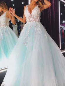 Charming Ball Gown V Neck Open Back Blush Tulle Long Senior Prom Dresses with Appliques,Graduation Dresses