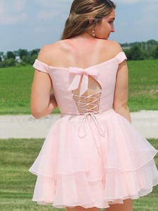 Cute Two Piece Off the Shoulder Pink Chiffon Short Homecoming Dresses