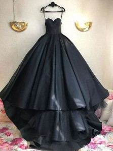 Simple A-Line Sweetheart Open Back Black Satin Long Prom Dresses with Train,Evening Party Dresses
