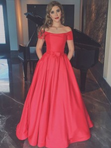 Elegant A-Line Off the Shoulder Open Back Red Satin Long Prom Dresses with Pockets,Evening Party Gown