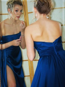 Unique A-Line Strapless Open Back Royal Blue Satin Long Prom Dresses with Slit,Evening Party Dresses