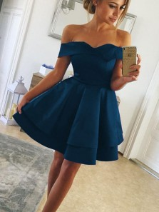 Simple A-Line Off the Shoulder Open Back Navy Blue Satin Homecoming Dresses.Short Prom Dresses DG0403009