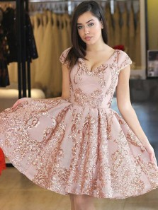 Elegant V Neck Cap Sleeve Blush Satin Short Homecoming Dresses with Appliques,A-Line Cocktail Party Dresses DG9012009