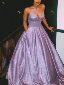 Sparkly Ball Gown V Neck Open Back Lavender Sequins Long Prom Dresses,Formal Party Dresses