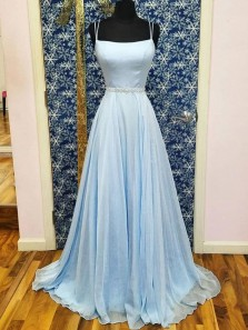 Charming A-Line Square Neck Open Back Light Blue Chiffon Long Prom Dresses with Beaded Belt,Evening Party Dresses