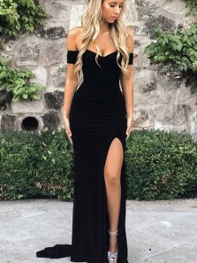 Sexy Mermaid Off the Shoulder Open Back Black Elastic Satin Long Prom Dresses with Slit,Evening Party Dresses