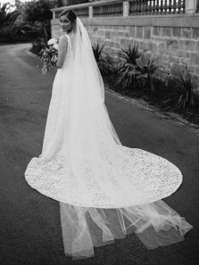 Glamorous A-Line V Neck Open Back White Lace Wedding Dresses with Train