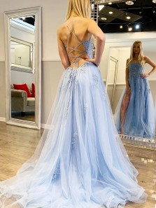 A-Line Scoop Neck Cross Back Sky Blue Tulle Long Prom Dresses with Split Appliques