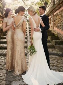 Elegant Sheath Round Neck Cap Sleeve Long Bridesmaid Dresses,Gold Sequins Mother of the Bride Dresses