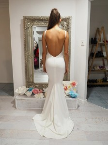 Charming Mermaid V Neck Backless White Satin Long Prom Dress Formal Evening Party Dresses