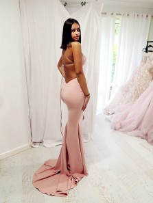 Sexy Mermaid V Neck Cross Back Blush Pink Satin Long Evening Party Dress with Split