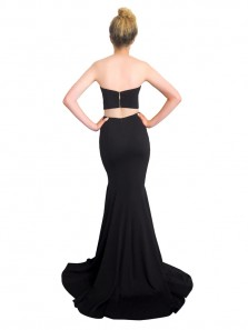 Sexy Two Piece Sweetheart Black Prom Dress Long Formal Evening Party Dress woth Side Split