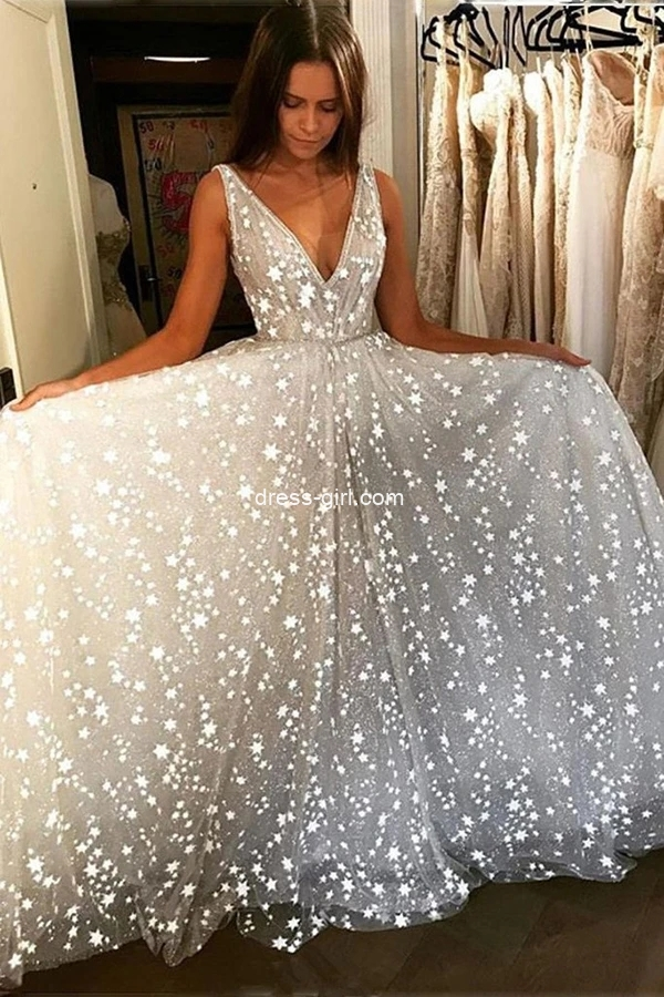 A-Line V Neck Sequined Sparkly Tulle Floor Length Prom Dress, White Evening Dress