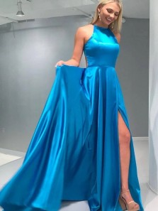 Simple A-Line Halter Blue Satin Long Prom Evening Dresses with Side Split