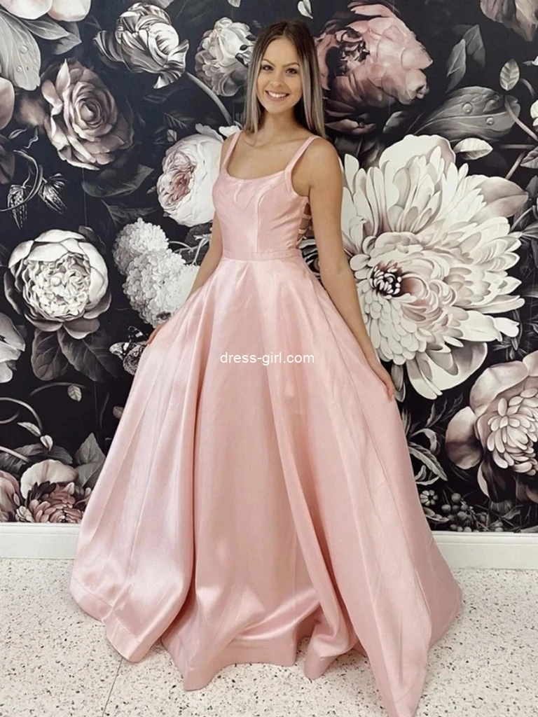 Simple A Line Pink Satin Long Prom Dresses, Long Pink Formal Evening Dresses