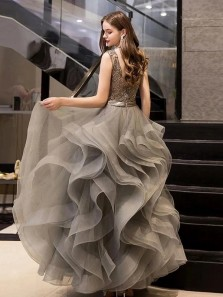 Exquisite Ball Gown V Neck Open Back Grey Tulle Long Prom Dresses with Beading,Formal Party Dresses