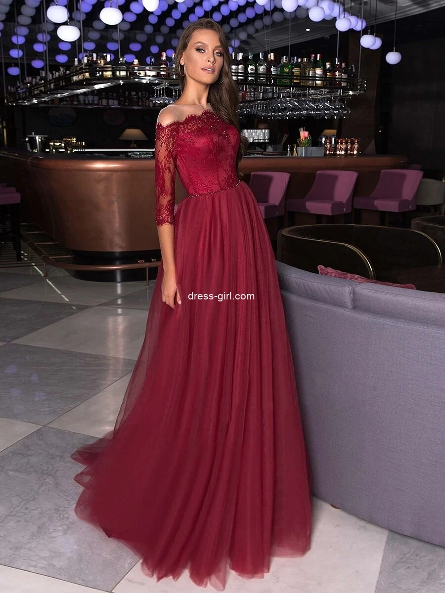 Off The Shoulder Lace Prom Dress A Line Evening Dress With Sleeve