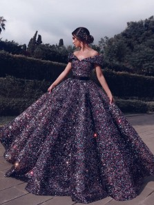 Stunning Ball Gown Off the Shoulder Colorful Sequins Long Prom Dresses Evening Gown