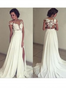 Popular Beach Off Shoulder A-line White Long Chiffon Wedding Dress With Applique