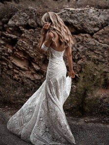 Mermaid Sweetheart Open Back Ivory Lace Boho Wedding Dresses